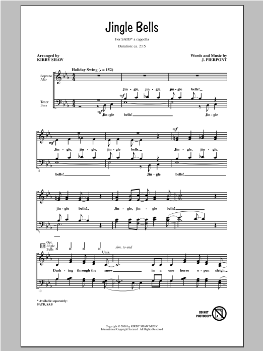 Jingle Bells (arr. Kirby Shaw) Sheet Music