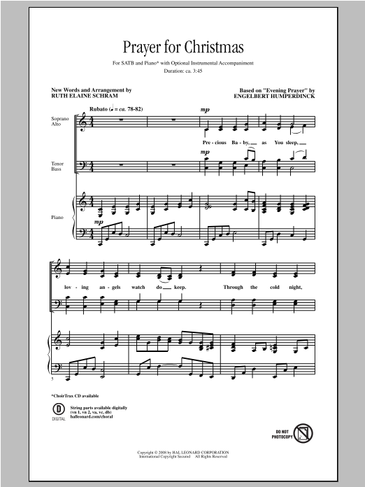 Prayer For Christmas (arr. Ruth Elaine Schram) Sheet Music