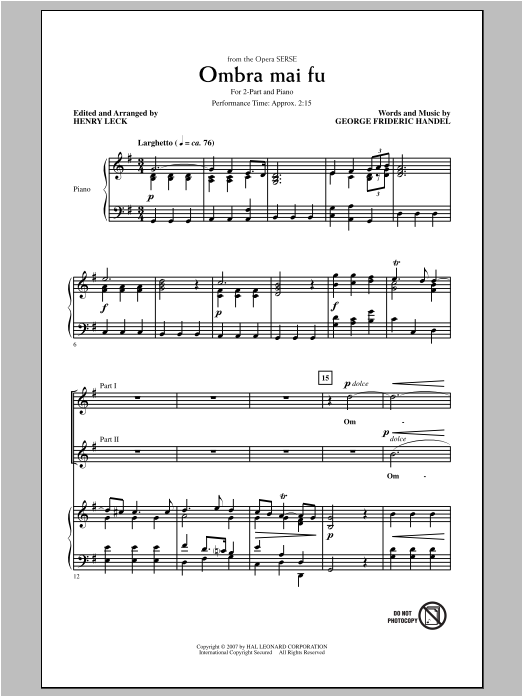 Ombra Mai Fu Sheet Music