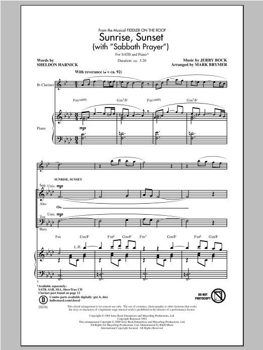 Sunrise, Sunset (with Sabbath Prayer) (SATB Choir)