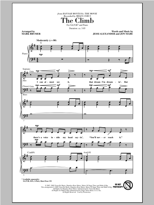Partition chorale The Climb de Mark Brymer - SATB