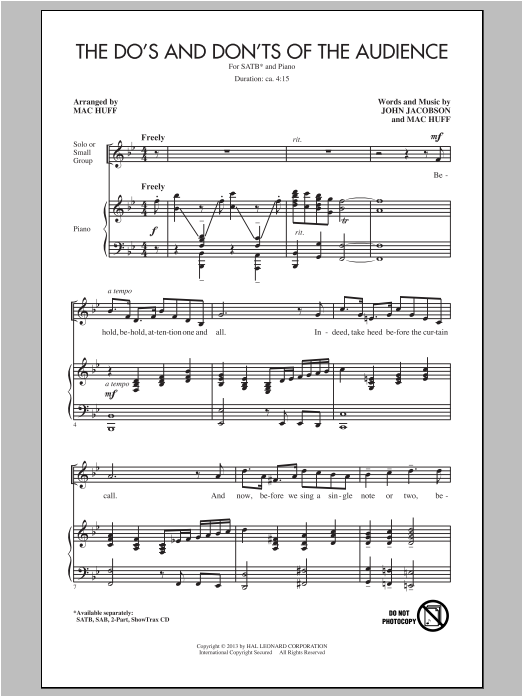 Partition chorale The Do's And Don'ts Of The Audience de John Jacobson - SATB