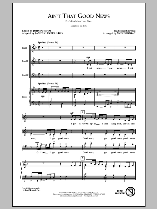 Ain't That Good News (arr. Moses Hogan) Sheet Music