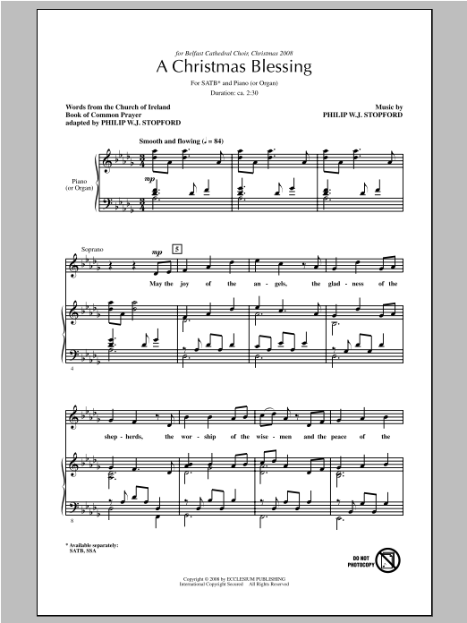 Partition chorale A Christmas Blessing de Philip Stopford - SATB