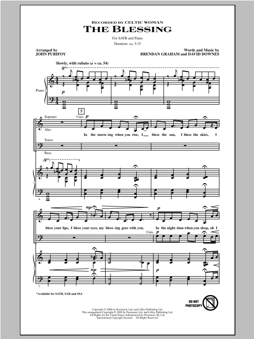 Partition chorale The Blessing de John Purifoy - SATB