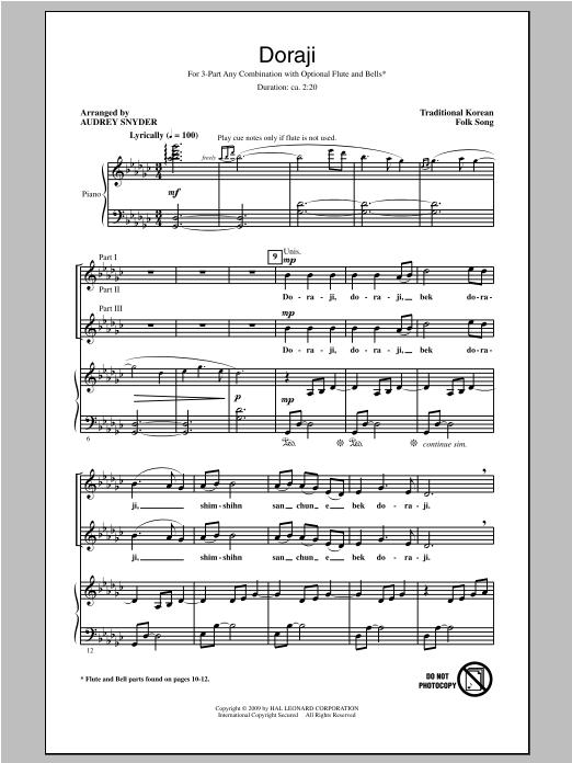 Partition chorale Doraji de Audrey Snyder - 3 voix mixtes