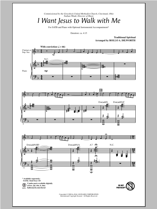 Partition chorale I Want Jesus To Walk With Me de Rollo Dilworth - SATB