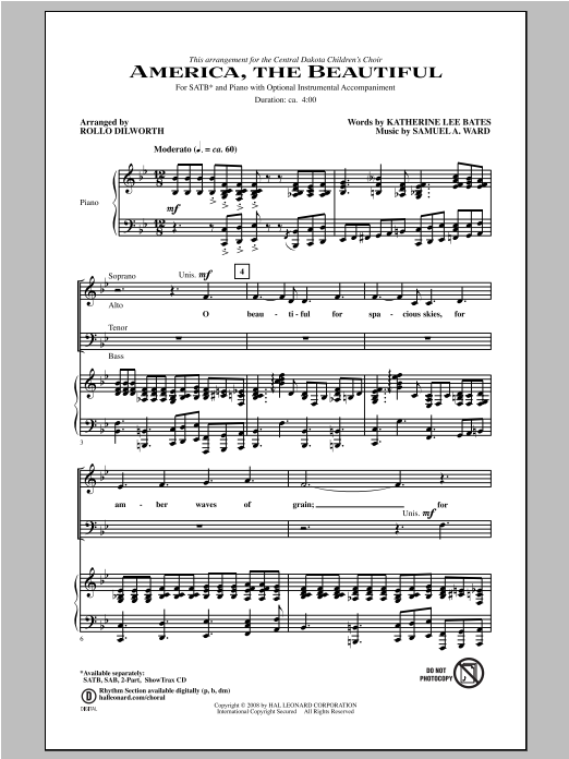America, The Beautiful (arr. Rollo Dilworth) Sheet Music