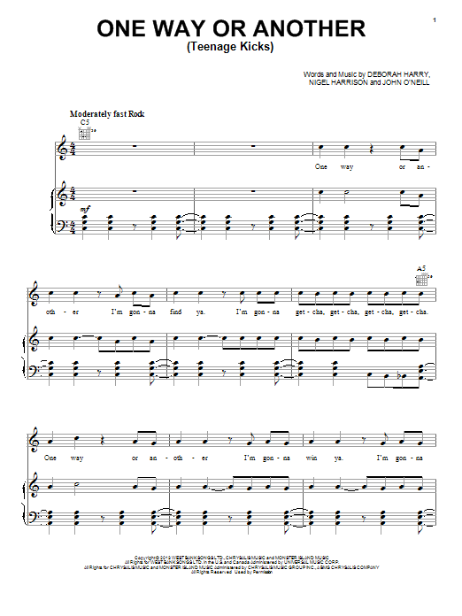 One Way Or Another (Teenage Kicks) Sheet Music