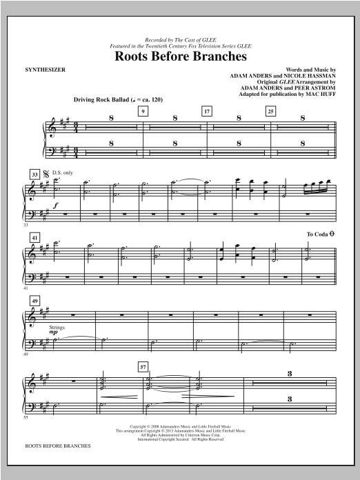 Roots Before Branches (complete set of parts) sheet music for orchestra/band by Mac Huff and Glee Cast. Score Image Preview.