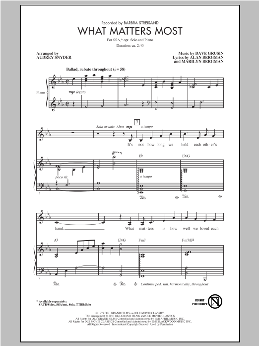 What Matters Most (arr. Audrey Snyder) Sheet Music