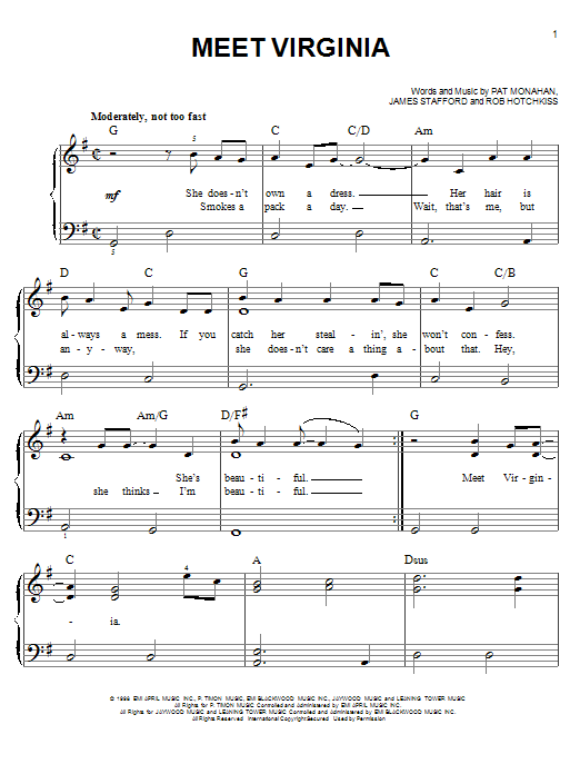 Partition piano Meet Virginia de Train - Piano Facile