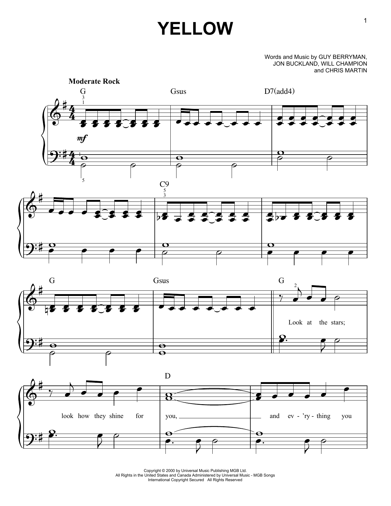 Yellow sheet music by Coldplay (Easy Piano u2013 96468)