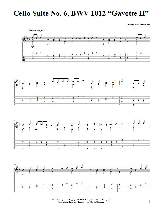 "Cello Suite No. 6, BWV 1012 ""Gavotte II"" Sheet Music"
