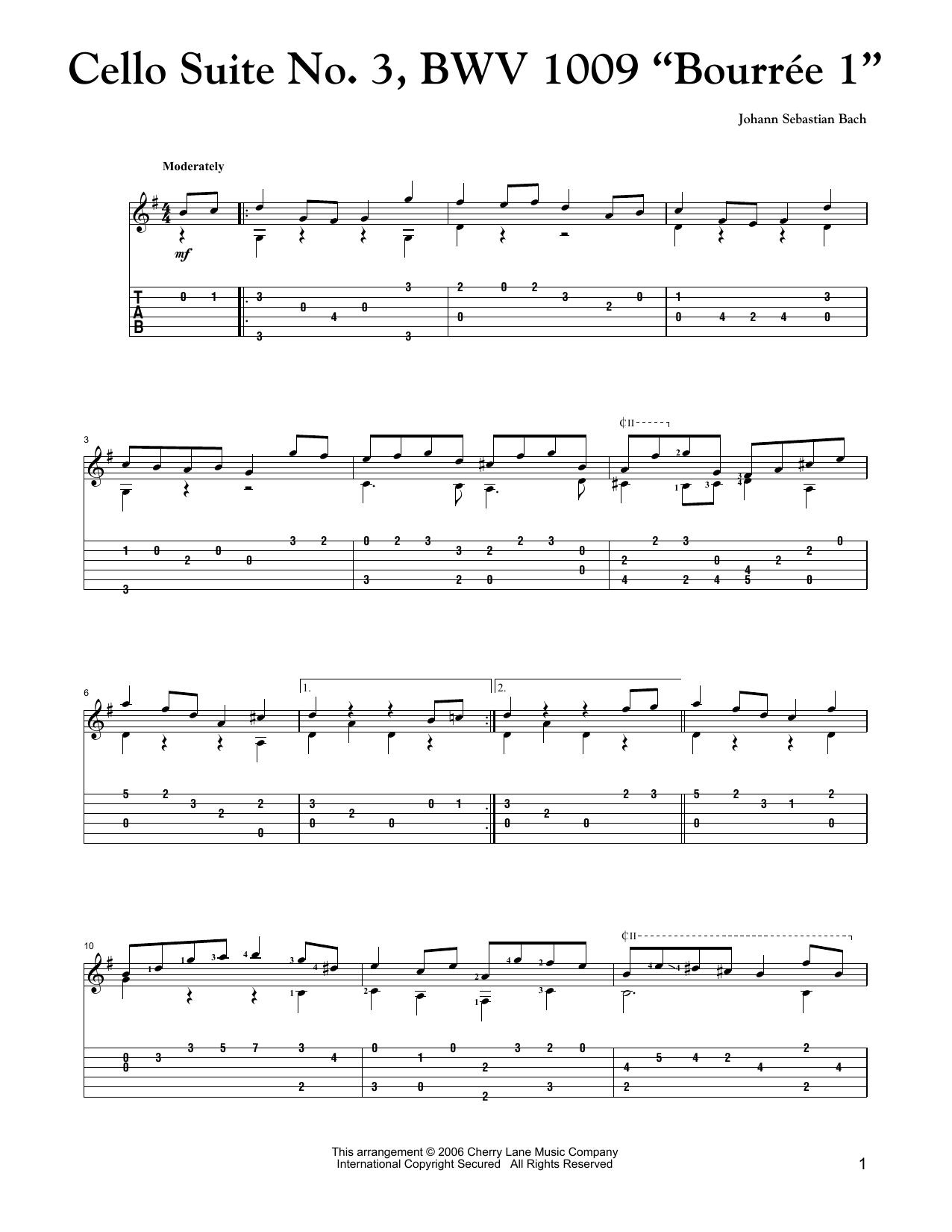 Cello Suite No 3 Bwv 1009 Bourree I By Johann Sebastian