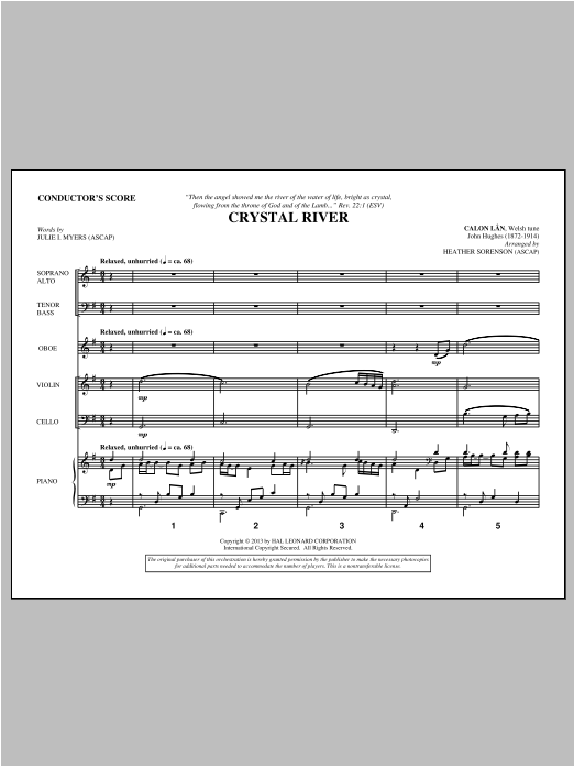Crystal River (COMPLETE) sheet music for orchestra/band by Heather Sorenson and Julie I. Myers. Score Image Preview.