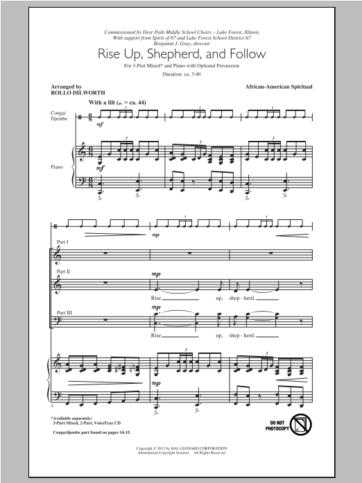 Rise Up, Shepherd, And Follow (arr. Rollo Dilworth) Sheet Music