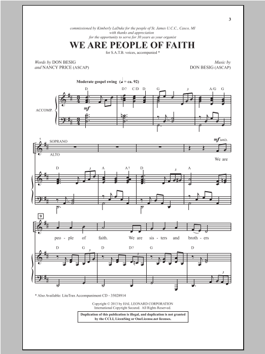 We Are People Of Faith Sheet Music