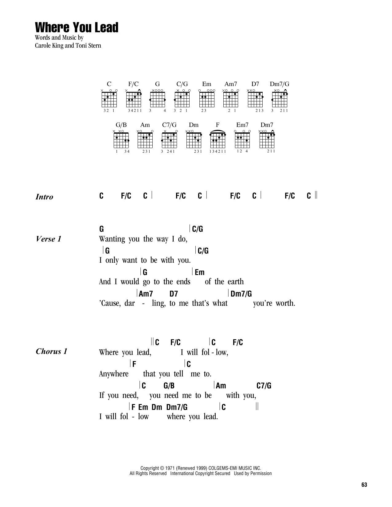 Where You Lead (Guitar Chords/Lyrics)