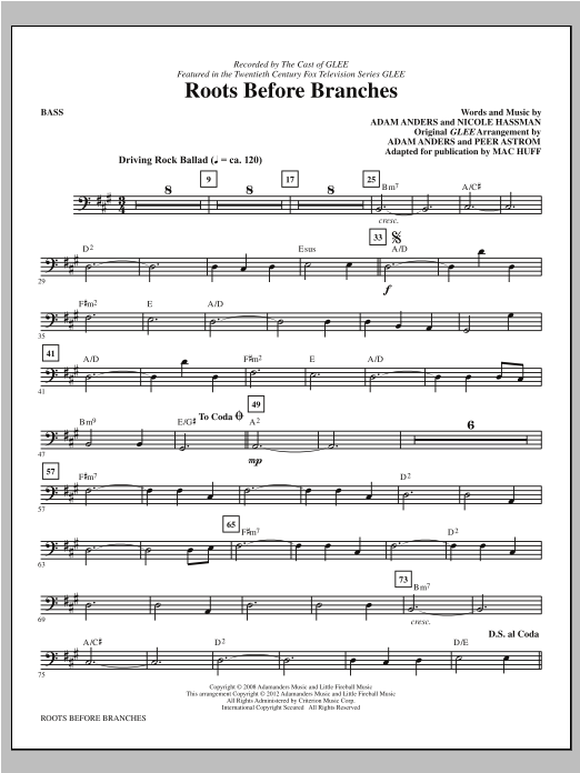 Roots Before Branches - Bass Sheet Music