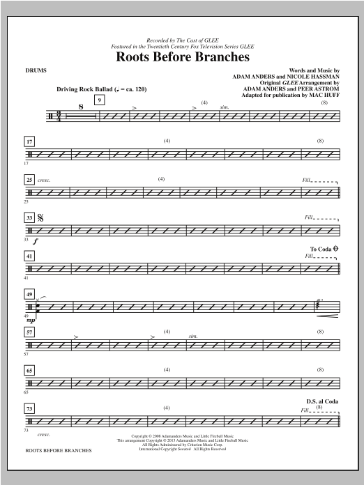 Roots Before Branches - Drums Sheet Music