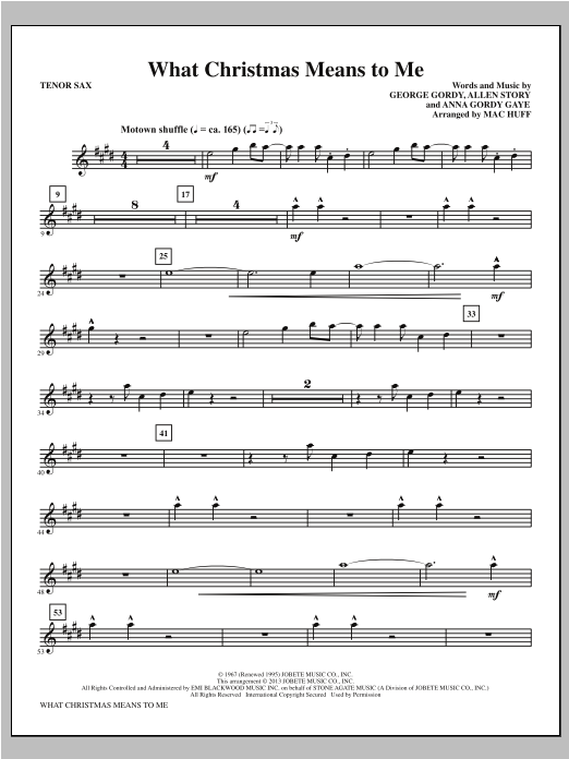 What Christmas Means to Me - Tenor Sax Sheet Music