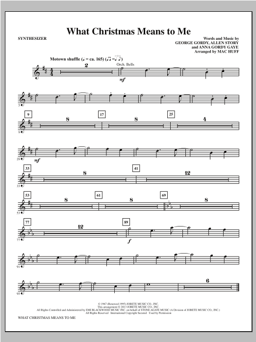 What Christmas Means to Me - Synthesizer Sheet Music