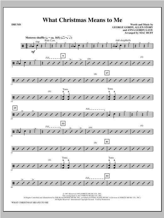 What Christmas Means to Me - Drums Sheet Music