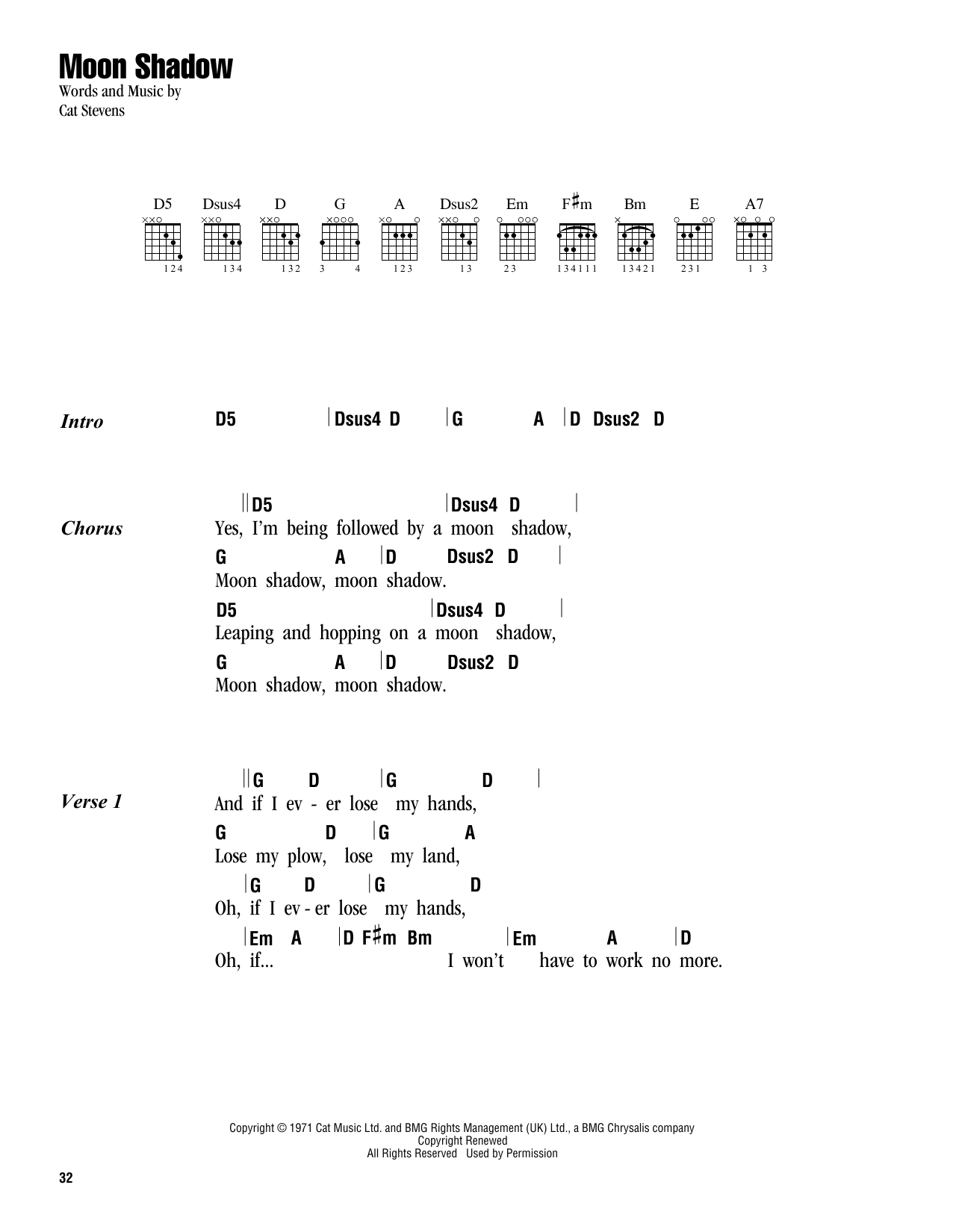 Moon Shadow Sheet Music