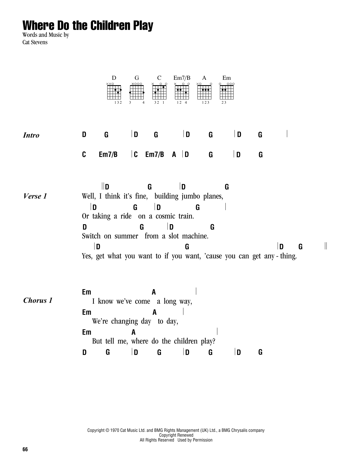Where Do The Children Play Sheet Music Cat Stevens Lyrics Chords