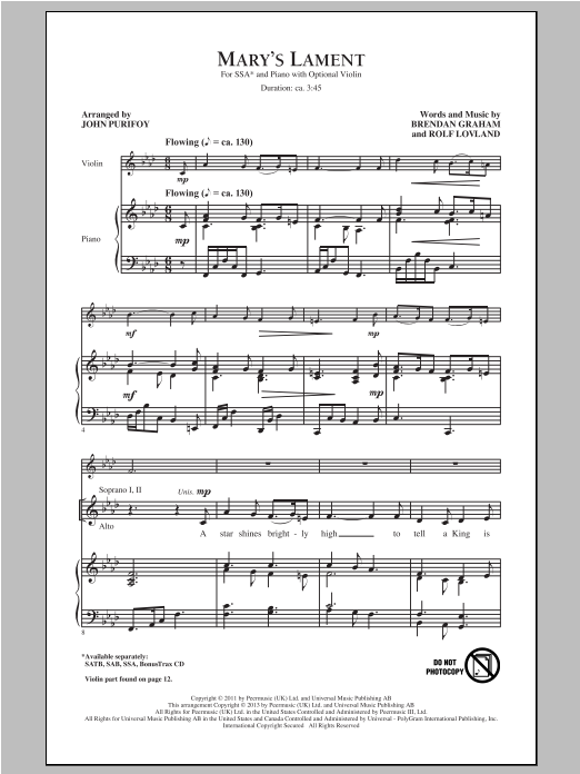 Mary's Lament (arr. John Purifoy) Sheet Music