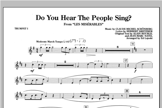 Do You Hear the People Sing? (complete set of parts) sheet music for orchestra/band by Alain Boublil, Claude-Michel Schonberg, Herbert Kretzmer and Ed Lojeski. Score Image Preview.