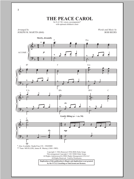 The Peace Carol (arr. Joseph M. Martin) Sheet Music