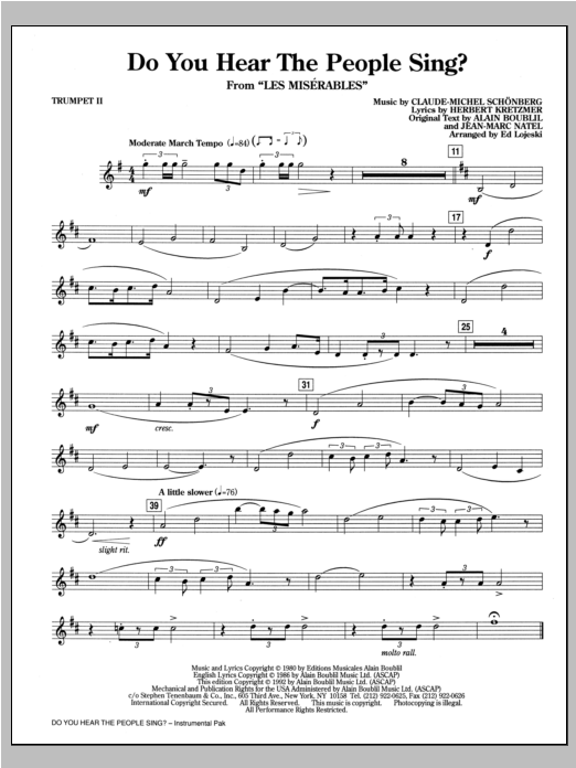 Do You Hear The People Sing From Les Miserables Arr Ed Lojeski Bb Trumpet 2 Sheet Music To Download