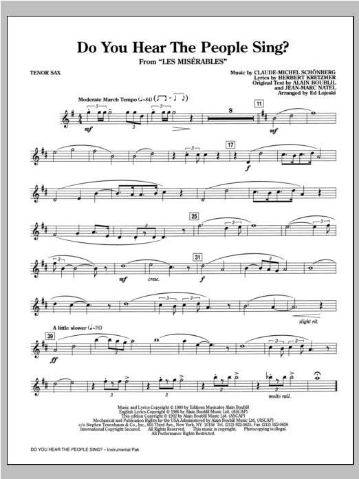 Do You Hear The People Sing? (from Les Miserables) (arr. Ed Lojeski) - Tenor Saxophone Sheet Music