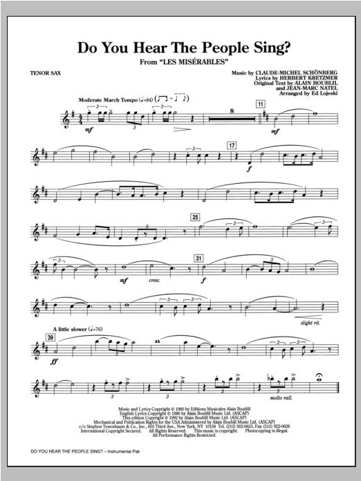 Do You Hear The People Sing? (from Les Miserables) (arr. Ed Lojeski) - Tenor Saxophone (Choir Instrumental Pak)
