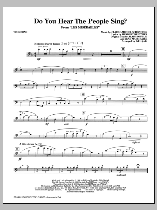 Do You Hear The People Sing? (from Les Miserables) (arr. Ed Lojeski) - Trombone Sheet Music