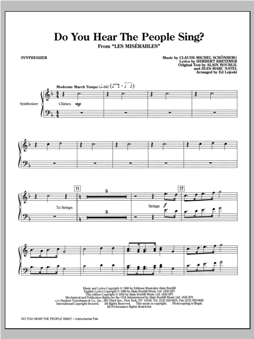 Do You Hear the People Sing? - Synthesizer Sheet Music