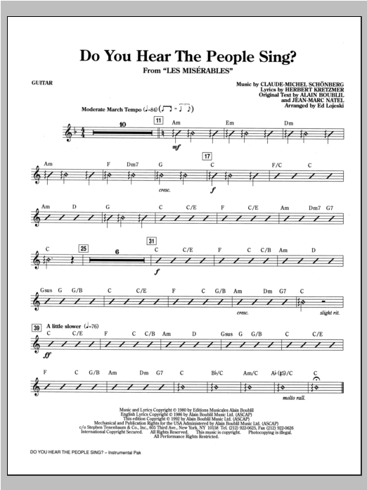 Do You Hear The People Sing? (from Les Miserables) (arr. Ed Lojeski) - Guitar Sheet Music
