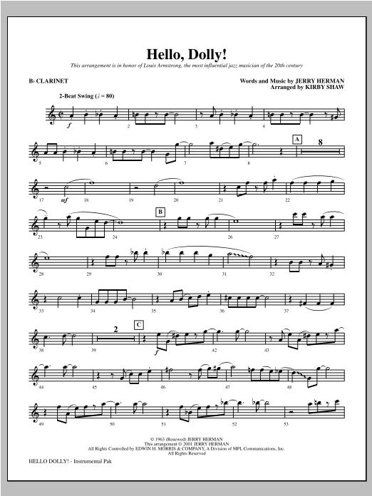 Hello, Dolly! - Bb Clarinet Sheet Music