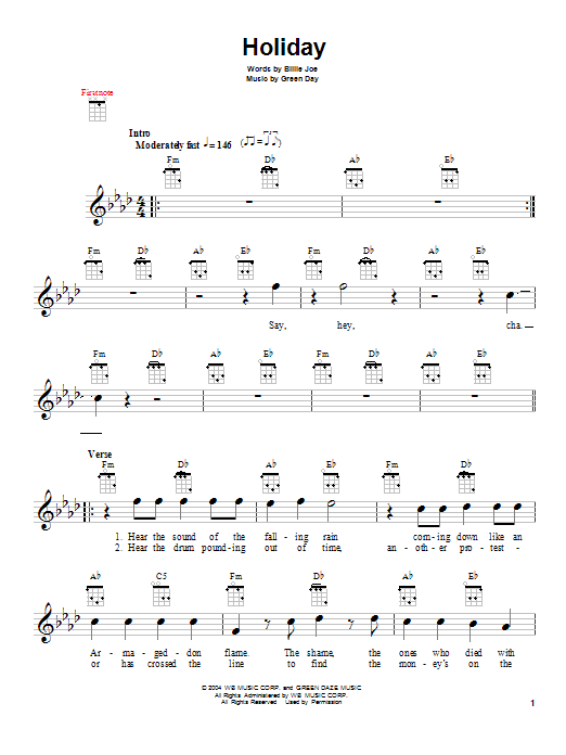 Tablature guitare Holiday de Green Day - Ukulele