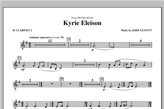 Kyrie Eleison (from Petite Mass) - Bb Clarinet 2 Sheet Music