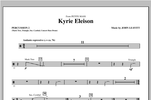 Kyrie Eleison (from Petite Mass) - Percussion 2 Sheet Music