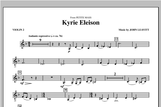 Kyrie Eleison (from Petite Mass) - Violin 1 Sheet Music