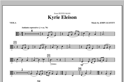 Kyrie Eleison (from Petite Mass) - Violin 2 Sheet Music