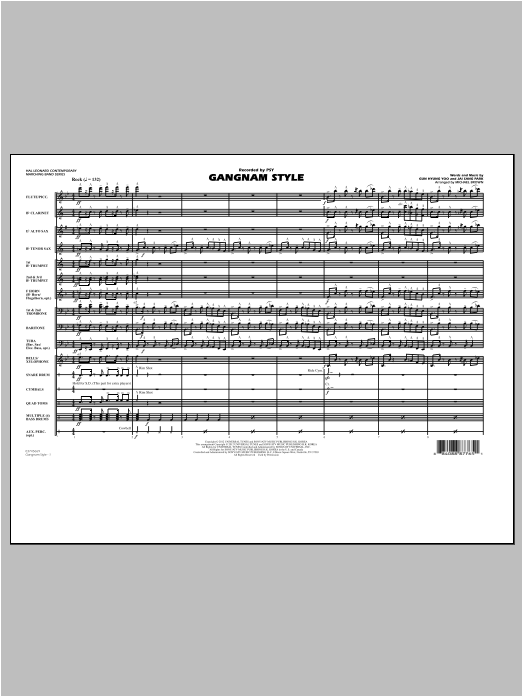 Gangnam Style (COMPLETE) sheet music for marching band by Michael Brown and PSY. Score Image Preview.