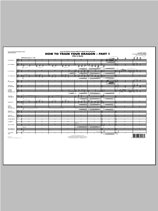 How To Train Your Dragon Part 1 (COMPLETE) sheet music for marching band by Michael Brown and John Powell. Score Image Preview.