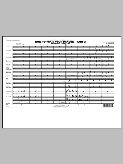 How To Train Your Dragon Part 2 (COMPLETE) sheet music for marching band by Michael Brown and John Powell. Score Image Preview.