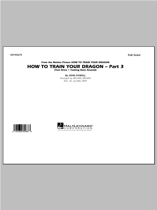How To Train Your Dragon Part 3 - Conductor Score (Full Score) Sheet Music