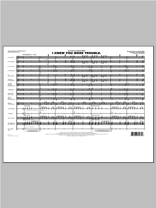 I Knew You Were Trouble (COMPLETE) sheet music for marching band by Tim Waters and Taylor Swift. Score Image Preview.